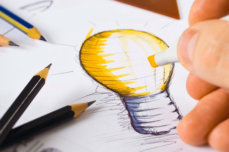 Blog_design_agrega_valor desenho de uma lâmpada representando ideia.