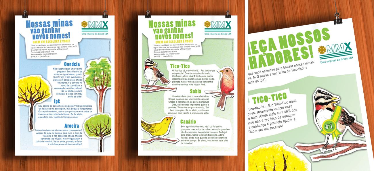 MMX Campanha Nomes artes com os vários candidatos árvores e pássaros